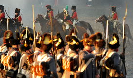 Horse soldiers. History fans reacting the battle of 1805 Austerlitz Stock Photos