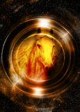 Horse in space, in circle light. Mirror on the planet Earth. Animal concept,  Sepia and light Golden color. Royalty Free Stock Photos