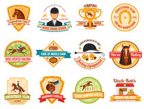 Horse Sport Color Emblems Set Royalty Free Stock Photography