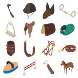 Horse sport equipment icons set, isometric style Stock Photo