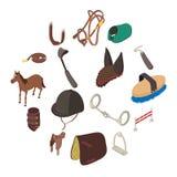 Horse sport equipment icons set, isometric style. Horse sport equipment icons set. Isometric illustration of 16 horse sport equipment vector icons for web Royalty Free Stock Photos
