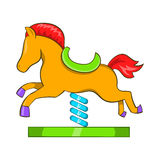 Horse spring see saw icon, cartoon style Stock Images