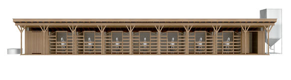 Horse stable front view isolated on white 3d rendering. Horse stable front view isolated on white. 3d rendering royalty free illustration