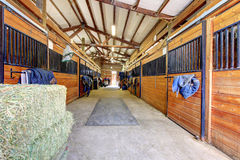 Horse stable interior with hey and wood doors. Stock Photos