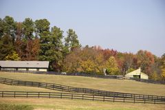 Horse Stables in Autumn Stock Image