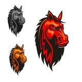 Horse stallion head and mane heraldic emblem Stock Photo