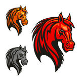 Horse stallion head and mane shiled icons. Horse stallion head icons. Powerful mustang vectro heraldic emblem for sport club emblem, team shield, badge, label Stock Photography