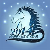Horse with stars as a symbol of 2014 Stock Image