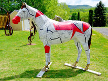Horse statue. BOMONT QUEBEC CANADA 08 12 2015: Horse in Bromont is a city in southwestern Quebec, Canada, at the base of Mount Brome (Mont Brome). The main venue Stock Photos