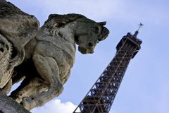 Horse statue with Eiffel tower in the background Stock Image