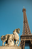Horse statue with Eiffel tower behind Royalty Free Stock Image