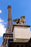 Horse statue and Eiffel Tower in Paris. Royalty Free Stock Photography