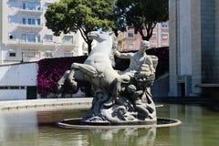 Horse statue in fountain in city park Jardim da Alameda Stock Image