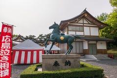 Horse statue of Gokoku Jinja Shinto Shrine Royalty Free Stock Images