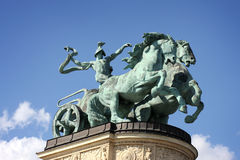Horse statue on Heroes square in Budapest Royalty Free Stock Photo
