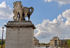 Horse statue and Trocadero. Paris. Stock Image