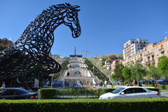 The horse statue in Yerevan Stock Photography