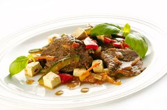 Horse steak with vegetables Royalty Free Stock Images