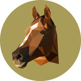 Horse in the style of the polygon. Fashion illustration of the t. Rend in style on a green background. Farm animals Stock Photos