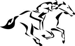 Horse. Stylized racing horse - black and white illustration Royalty Free Stock Photos