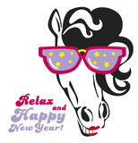 Horse with Sunshades. Funny Horse with colorful Sunshades, red lips, smiling Royalty Free Stock Images