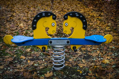 Horse swing. And Autumn leaves stock image