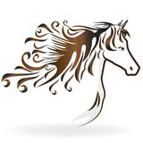 Horse with a swirly hair. Graceful horse with a swirly hair logo vector symbol image template Royalty Free Stock Photos