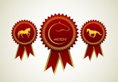 Horse symbol award rosette Royalty Free Stock Photo