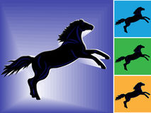 Horse a symbol of 2014. Symbol of 2014 black horse with dark blue stripes on blue and other backgrounds, hand drawing vector illustration Stock Images