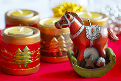Horse symbol 2014 decoration. Horse and candels new year decor Stock Images