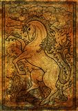 Horse symbol with four nature elements, fire, air, water and earth mystic signs on antique texture background Royalty Free Stock Photos