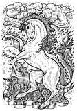 Horse symbol with four nature elements, fire, air, water and earth mystic signs. Fantasy vector illustration for t-shirt, print, card, tattoo design. Zodiac Stock Photos