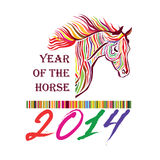 Horse - Symbol of 2014. Stylish background illustration. Blue Horse - Symbol of 2014. Year of the horse siluette label. Happy New Year vector illustration