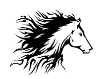 Horse symbol, vector. Nice  horse. Style - tattoo, abstract, typographic. Fur like fire, that becomes int o horse Stock Photos