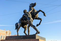 The Horse Tamers on Anichkov Bridge, St Petersburg, Russia Stock Photos