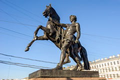 The Horse Tamers on Anichkov Bridge, St Petersburg, Russia Royalty Free Stock Photos