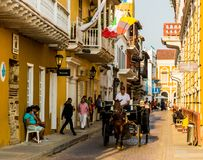 Horse taxi colombia. Cartagena, Colombia. April 2018. A view of a horse carriage taxi in Cartagena, Colombia royalty free stock image