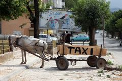 Horse taxi in Debar, Macedonia Royalty Free Stock Photos