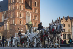 Horse taxi in Krakow. Poland Stock Photo