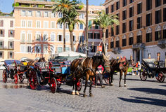 Horse taxi at Piazza di Spagna Royalty Free Stock Images