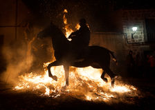 Horse together your rider through the fire Royalty Free Stock Photo