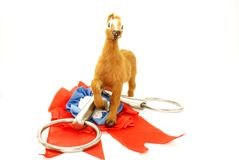 The horse toy and bit. The toy horse and bit stock images