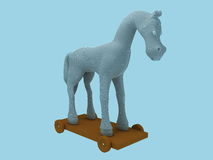 Horse. Toy horse, front view, created in 3d Studio Max Stock Photography