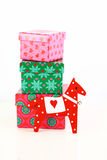 Horse toy with gift boxes Stock Images