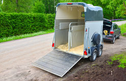 Horse trailer. And car waiting for horses Stock Photography