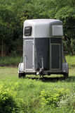Horse trailer at courtyard. Transportation for horses by trailer Stock Photography