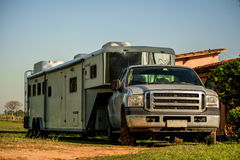 Horse Trailer. And Motor Home stock image