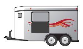 Horse Trailer. A horse trailer with orange and red graphics is ready to hook up and go stock illustration