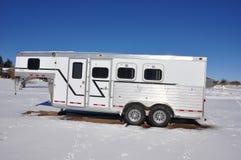 Horse trailer. That transports  three horses slant load style Royalty Free Stock Photo