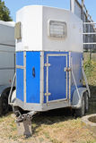 Horse Trailer. Used Horse Trailer in White and Blue Royalty Free Stock Photos
